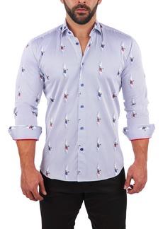 Maceoo Fibonacci Curious Pug Regular Fit Print Button-Up Shirt