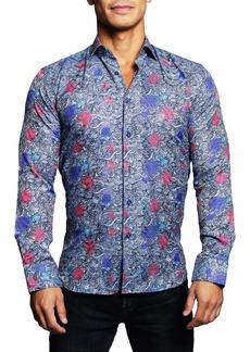 Maceoo Fibonacci Favour Blue Button-Up Shirt
