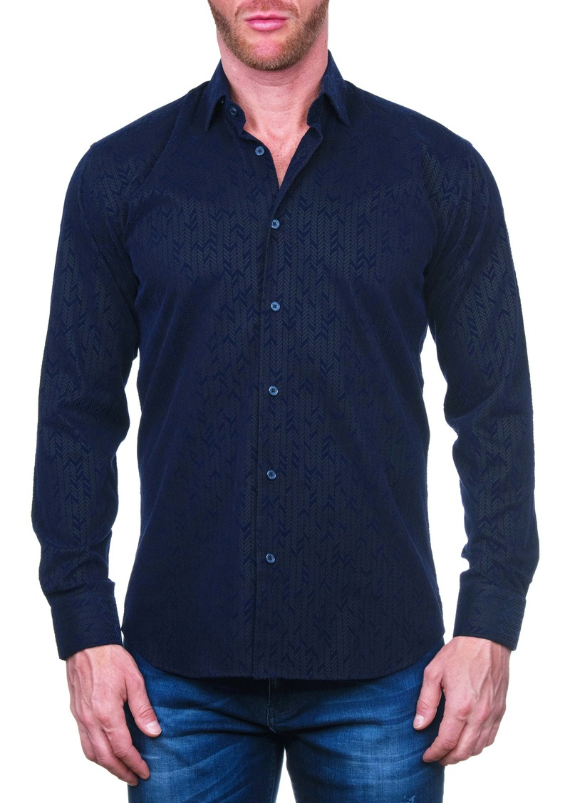 Maceoo Fibonacci Flokarrow Black Regular Fit Button-Up Shirt