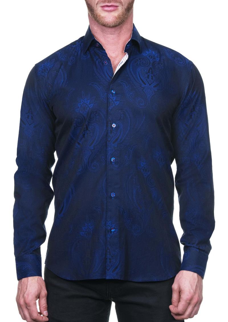 Maceoo Fibonacci Royalpaisley Blue Regular Fit Button-Up Shirt