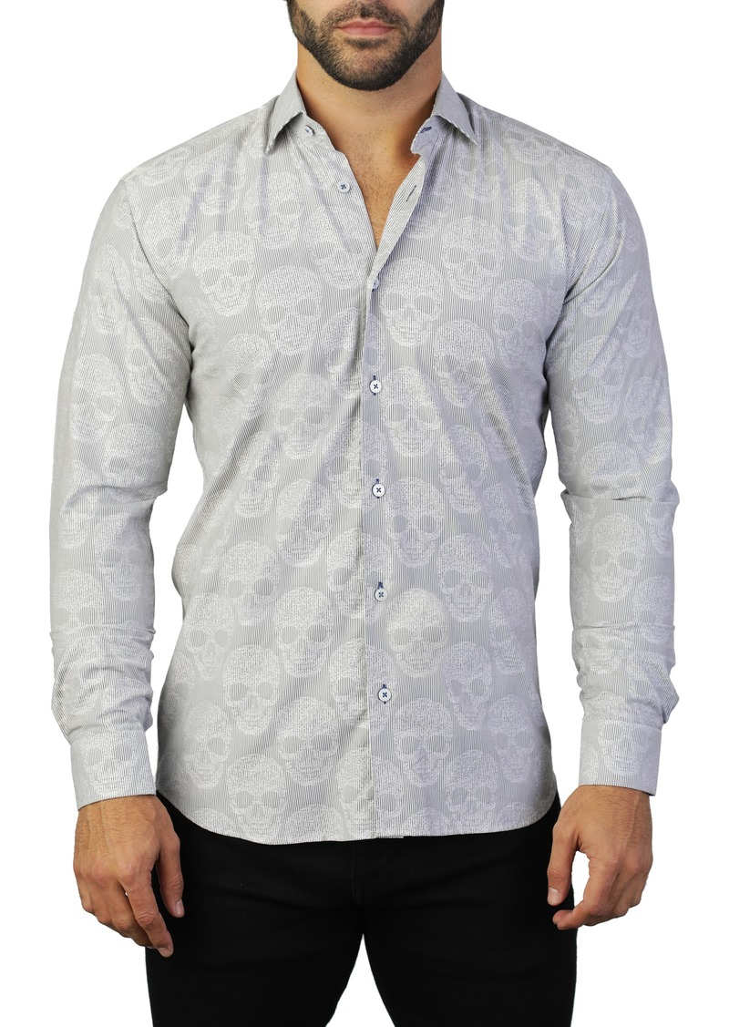Maceoo Fibonacci Skull Regular Fit Cotton Shirt