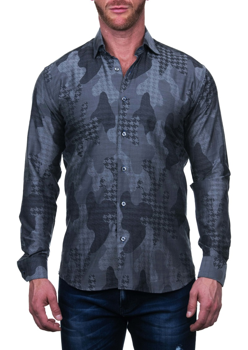 Maceoo Fibonacci Star Grey Regular Fit Button-Up Shirt