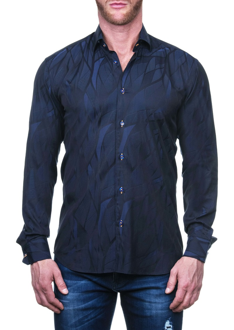 Maceoo Fibonacci Wave Blue Regular Fit Button-Up Shirt