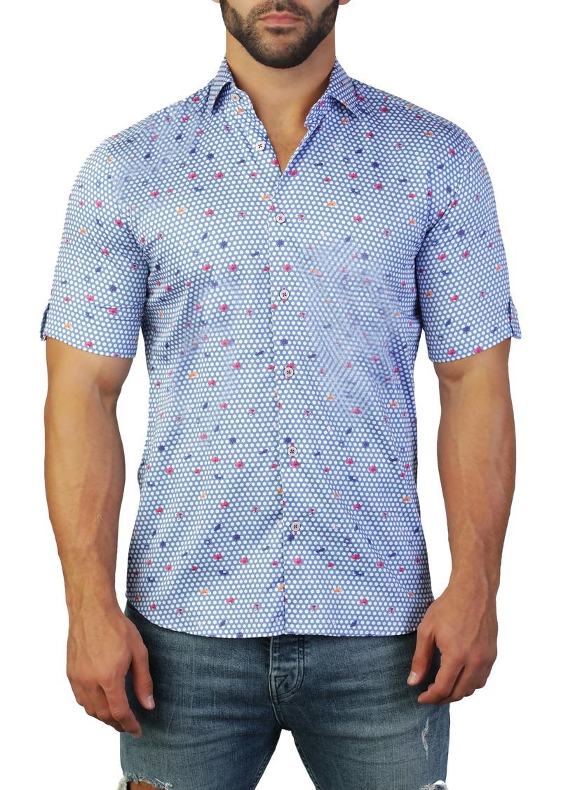Maceoo Galileo Butterfly Blue Regular Fit Short Sleeve Shirt