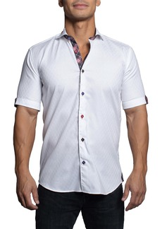 Maceoo Galileo Clean White Short Sleeve Button-Up Shirt