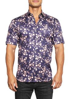 Maceoo Galileo Clementine Regular Fit Print Short Sleeve Button-Up Shirt
