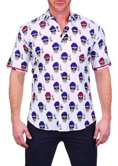 Maceoo Galileo Coolskull Regular Fit Short Sleeve Button-Up Shirt
