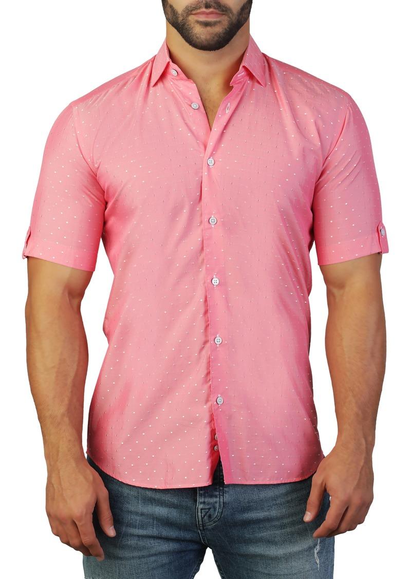 Maceoo Galileo Dot Red Regular Fit Short Sleeve Shirt