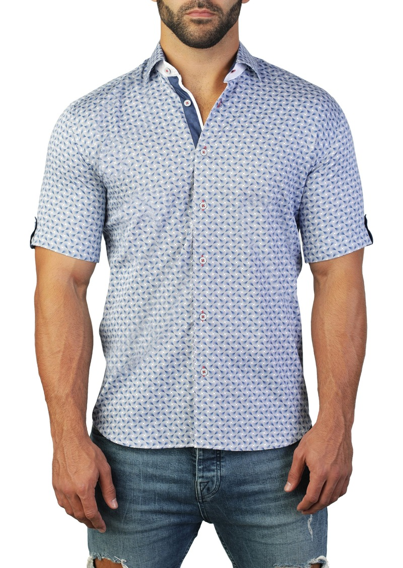 Maceoo Galileo Fan Blue Regular Fit Short Sleeve Shirt
