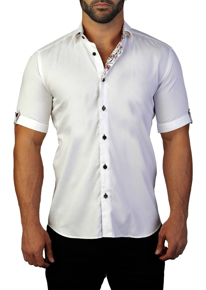 Maceoo Galileo Maze White Regular Fit Short Sleeve Shirt