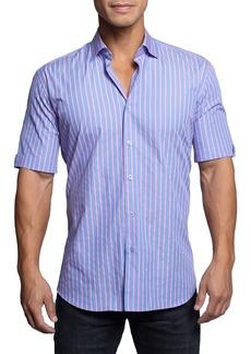 Maceoo Galileo Neonstripe Blue Short Sleeve Button-Up Shirt