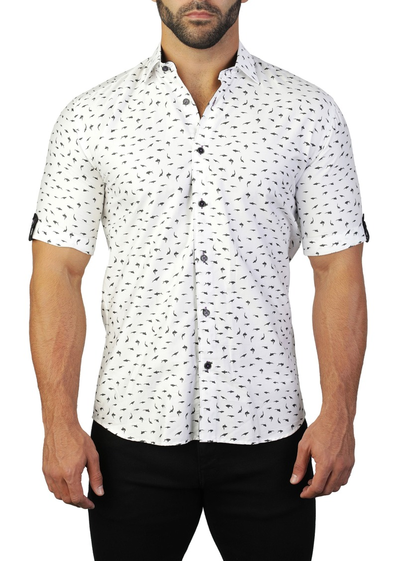 Maceoo Galileo Shark White Regular Fit Short Sleeve Shirt