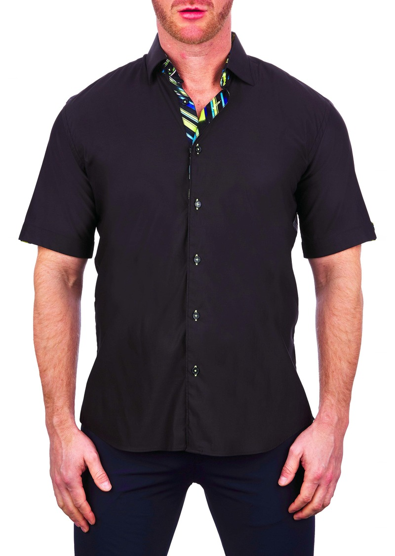 Maceoo Galileo Short Sleeve Stretch Button-Up Shirt