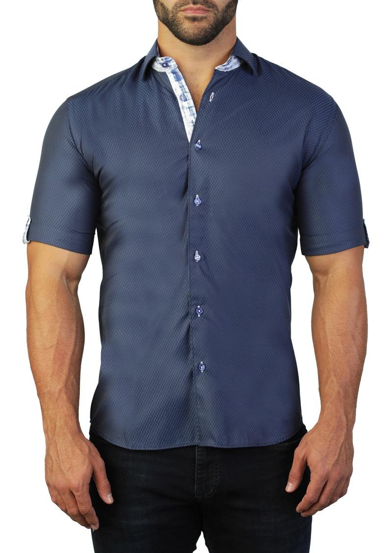 Maceoo Galileo Teeth Blue Regular Fit Short Sleeve Shirt