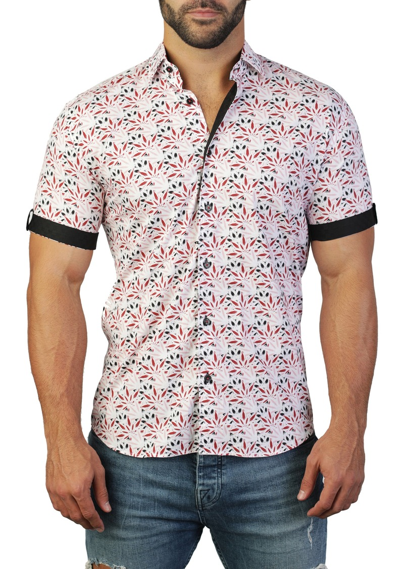 Maceoo Galileo Weed Red Regular Fit Short Sleeve Shirt