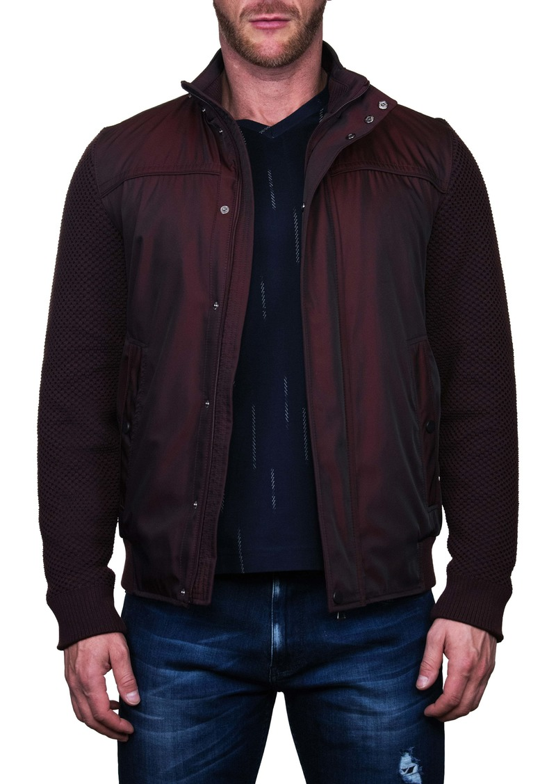 Maceoo Knit Sleeve Red Bomber Jacket