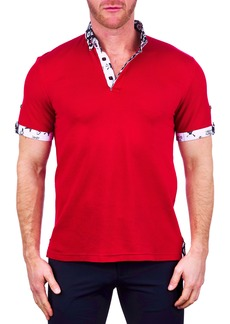Maceoo Mozartsolid Red Button-Down Polo