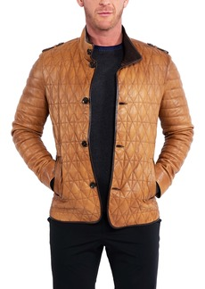 Maceoo Quilted Leather Field Jacket
