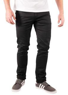 Maceoo Stripe Selvedge Shiny Black Jeans