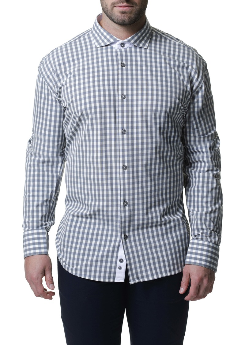 Maceoo Wall Street 4-Way Stretch Plaid Performance Sport Shirt