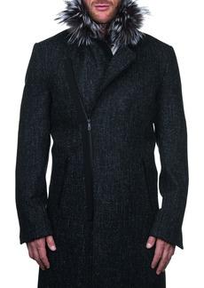 Maceoo Wool & Cashmere Jacket with Genuine Fox Fur Trim