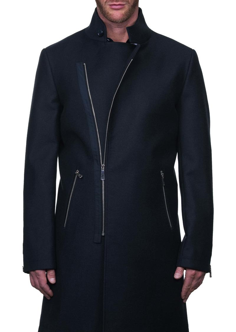 Maceoo Zipfur Asymmetrical Zip-Up Overcoat