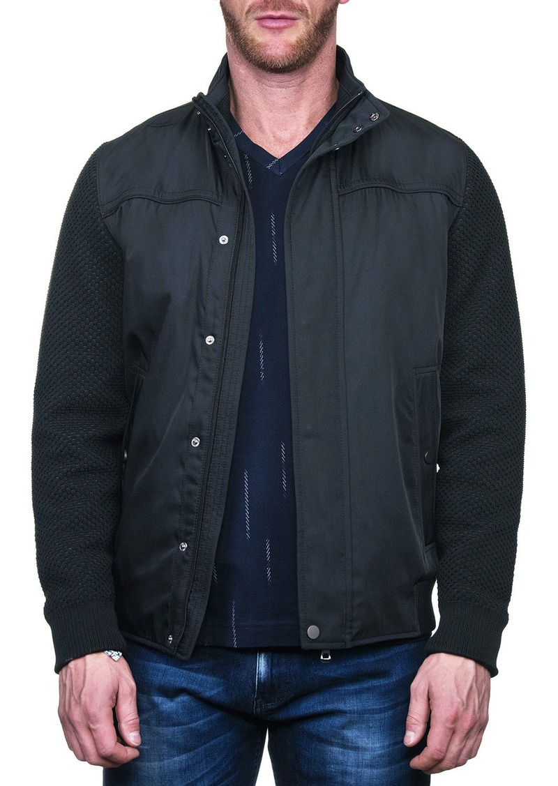 Maceoo Men's Knitted Stand-Collar Bomber Jacket