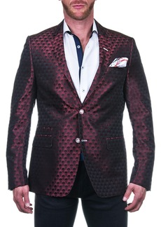 Maceoo Socrate Red Skull Print Two Button Notch Lapel Blazer
