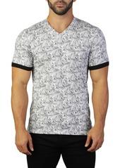 Maceoo Vivaldi V-Neck Print T-Shirt