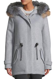 Mackage Alexa Wool-Blend Trench Coat w/ Tricolor Fur