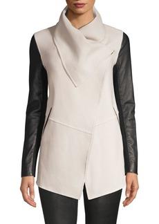 Mackage Leather Sleeve Wool Coat