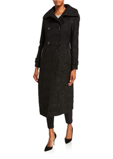 Mackage Elodie Double-Breasted Sparkly Long Coat