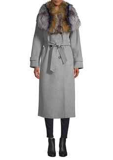 Mackage Blair Fur Collar Double Face Belted Coat