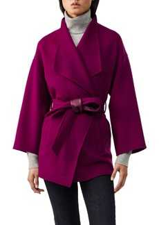 Mackage Gail Leather-Belted Wool Wrap Coat