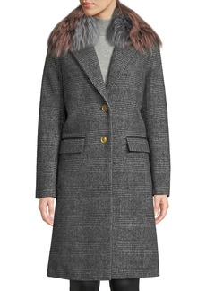 Mackage Henrita Wool Coat in Plaid w/ Removable Fur