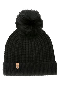 Mackage Doris Cashmere Beanie with Removable Genuine Raccoon Fur Pom