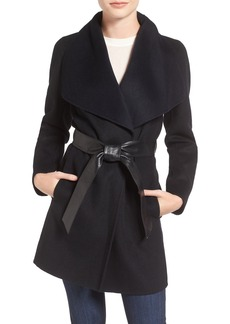 Mackage Double Face Wool Blend Coat with Leather Belt