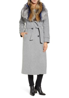 Mackage Double Face Wool with Genuine Fox Fur Trim Coat