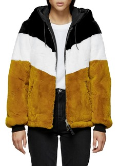 Mackage Fabia Reversible Colorblock Genuine Rabbit Fur Hooded Bomber Jacket