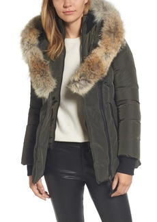 Mackage Hooded Down Parka with Inset Bib & Genuine Coyote Fur Trim