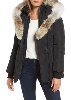 Mackage Hooded Down Parka with Inset Bib & Genuine Fox Fur Trim