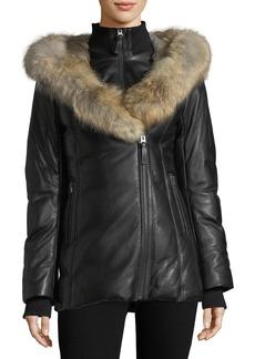 Mackage Ingrid Leather Jacket w/ Fur Collar