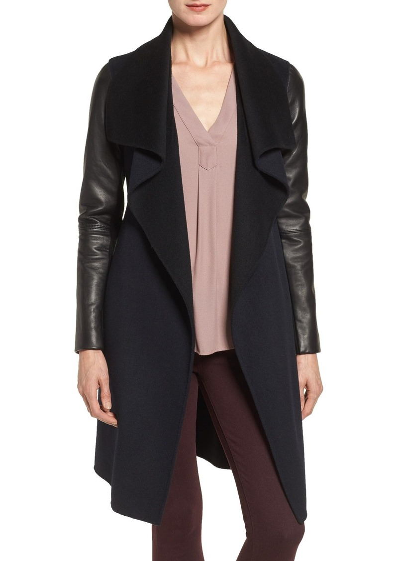 Mackage Leather Sleeve Double Face Wool Blend Wrap Coat