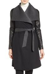 Mackage Leather Sleeve Wool Blend Wrap Coat