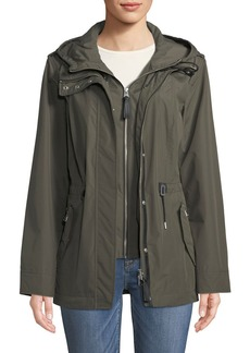 Mackage Meltiar Hooded Rain Jacket w/ Covered Placket