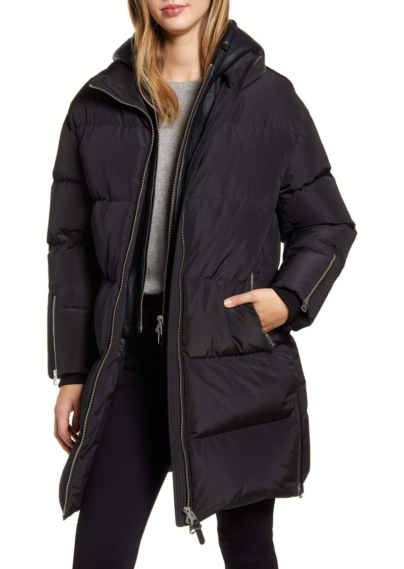 Mackage Raffy Water Repellent Down Coat with Leather Hood