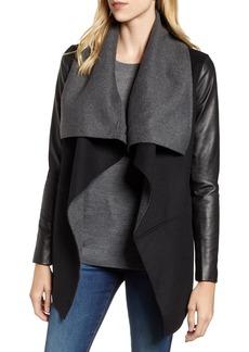 Mackage Vane Asymmetrical Leather Sleeve Coat