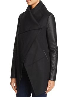 Mackage Vane Draped Wrap Leather-Sleeve Coat - 100% Exclusive