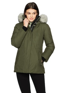 Mackage Women's Danika Lux Fitted Down Jacket with Fur Hood  L