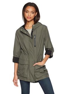 Mackage Women's Hailie Hooded Water Repellent Jersey Lined Rain Jacket  L